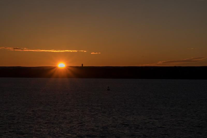 Sunrise sailing into Quebec City