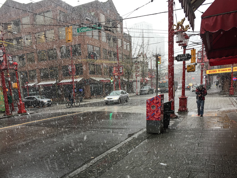 Snowy day in Vancouver's Chinatown | Winter in Vancouver