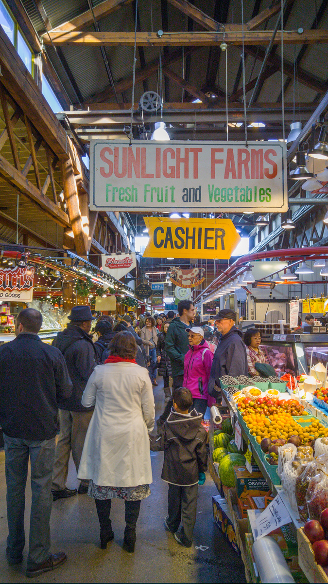 Produce stalls at Granville Island Public Market