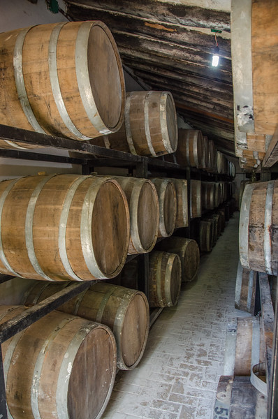 Tequila aging barrels at Los Osuna Distillery near Mazatlan, Mexico