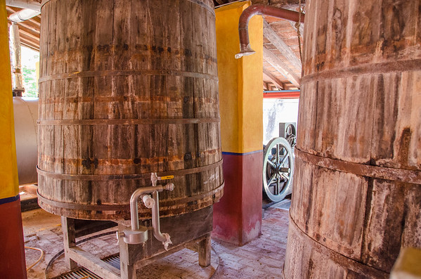 The fermentation tanks at Los Osuna Distillery near Mazatlan, Mexico
