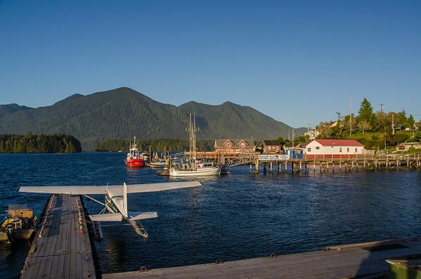 The harbor at sunset in Tofino British Columbia