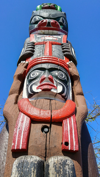 First Nations totum pole in Victoria, BC