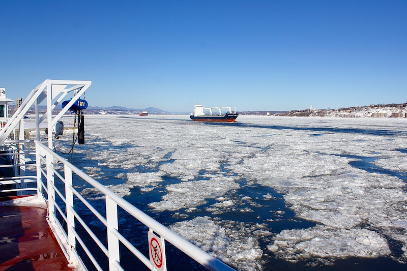 crossing the icy St. Lawrence River in Quebec City