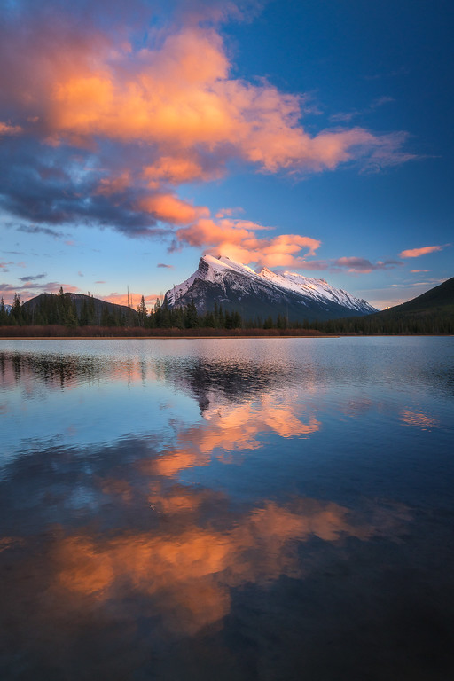 Vermillion Lake with rare sunset colours