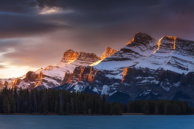 Mount Rundle from Two Jack Lake Nisi landscape CPL, 10 stop ND for water