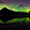 Aurora Borealis over Lake Minnewanka<br /> 9 vertical images stitched