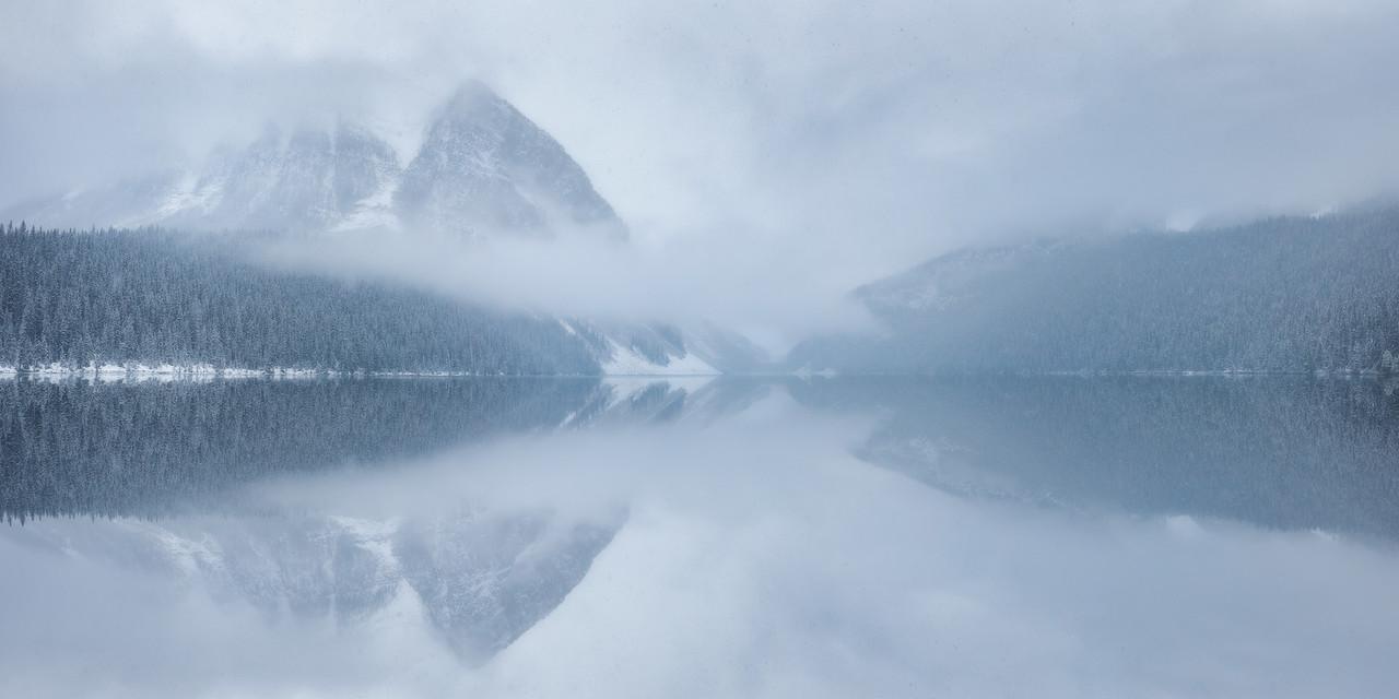 Whiteout snow at Lake Louise