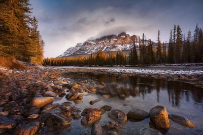 Castle Mountain as the sun broke through at dawn Landscape CPL