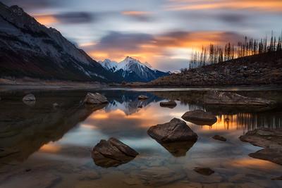 Medicine Lake at dawn Landscape CPL, 6 stop ND flter, exposure blending