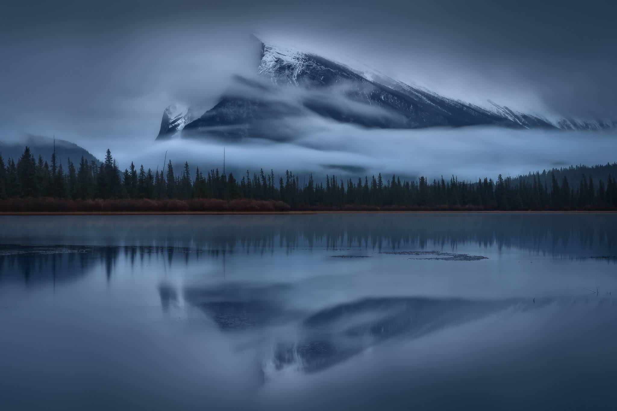 Vermillion Lakes with Mount Rundle lurking eerily