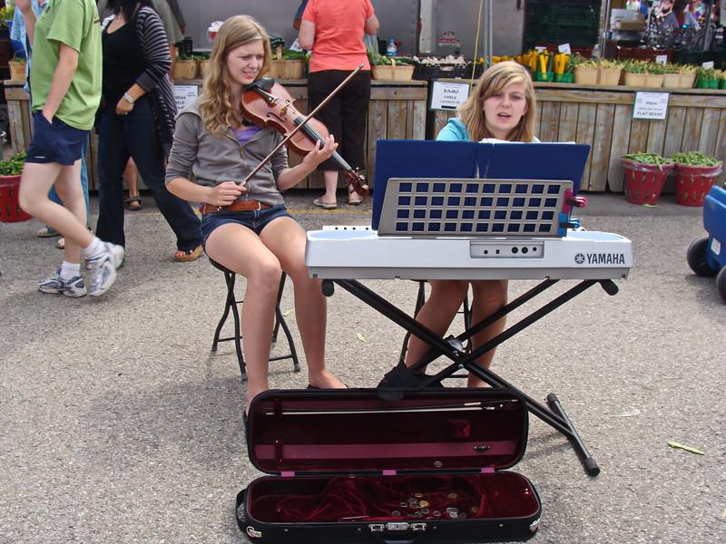 Violin and Keyboard at the Market