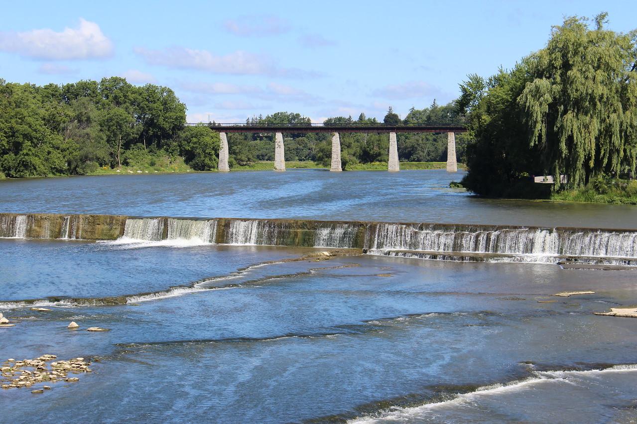 Railroad Trestle Bridge on Limestone Pillars