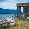 WA 006<br /> <br /> An old boathouse shack has a great view of Legoe Bay from the Lummi Island shoreline.  Just off the shore of northern Washington State.