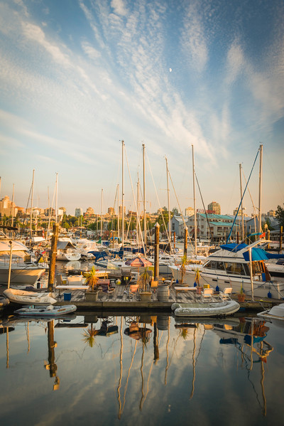 CA 010<br /> <br /> Ocean-going vessels await their next voyage at their moorings in False Creek.  Vancouver, B.C.