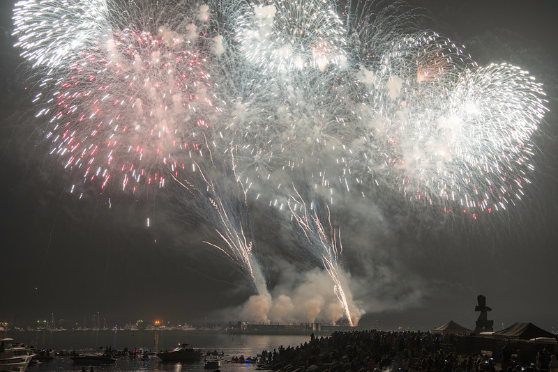 CA 014<br /> <br /> Pyrotechnics explode over English Bay during the annual Celebration of Light fireworks competition in Vancouver, British