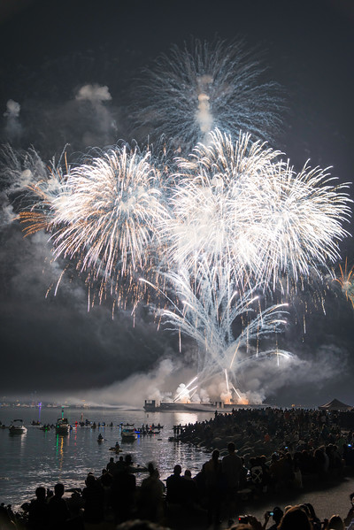 CA 015<br /> <br /> Pyrotechnics explode over English Bay during the annual Celebration of Light fireworks competition in Vancouver, British
