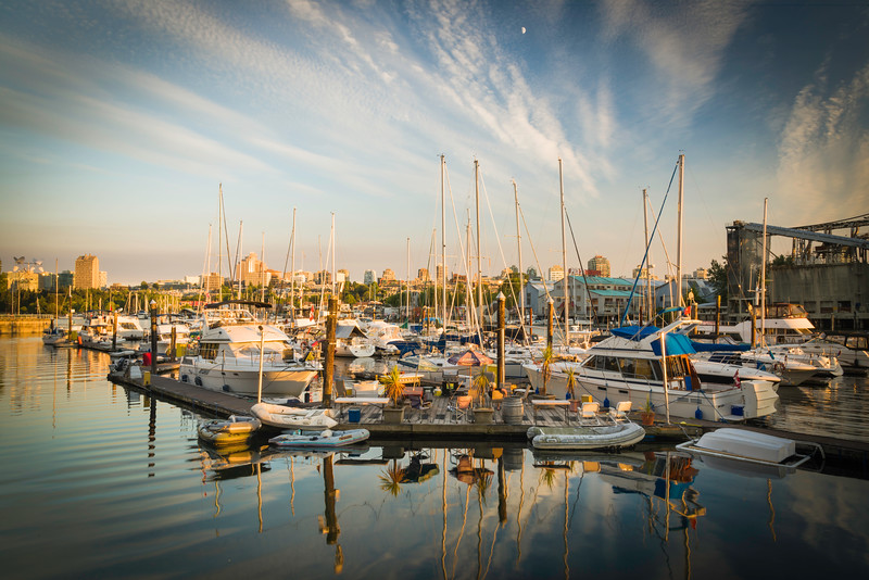 CA 011<br /> <br /> Ocean-going vessels await their next voyage at their moorings in False Creek.  Vancouver, B.C.