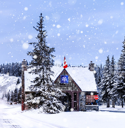 Entrance of Banff National Park in winter, Alberta, Canada.