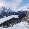 Peyto Lake, a glacier-fed lake in Banff National Park in winter.