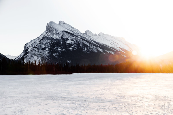 Mount Rundle at sunrise by Vermilion Lakes in winter close to the town of Banff in Alberta