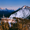 The observation deck at the top of Sulphur Mountain offers a splendid view on the Canadian Rockies in the Banff National Park, Alberta, Canada.