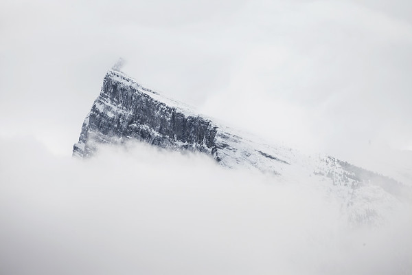Mountain Peak in the clouds, Banff National Park