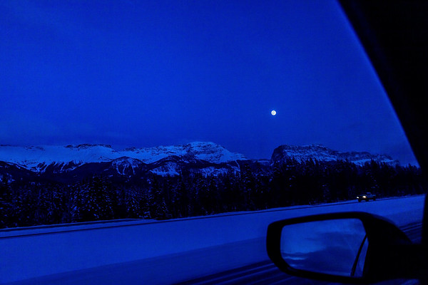 Evening drive in the Canadian Rockies, Alberta, Canada.