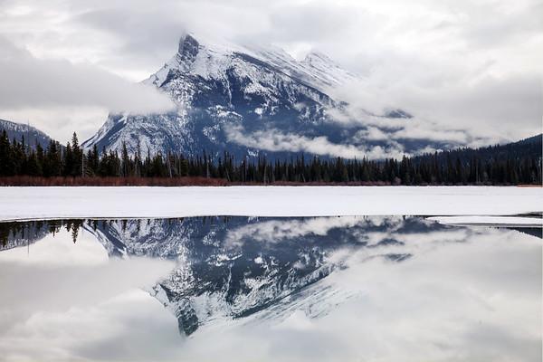 Mount Rundle reflection in Vermillion Lakes, Alberta