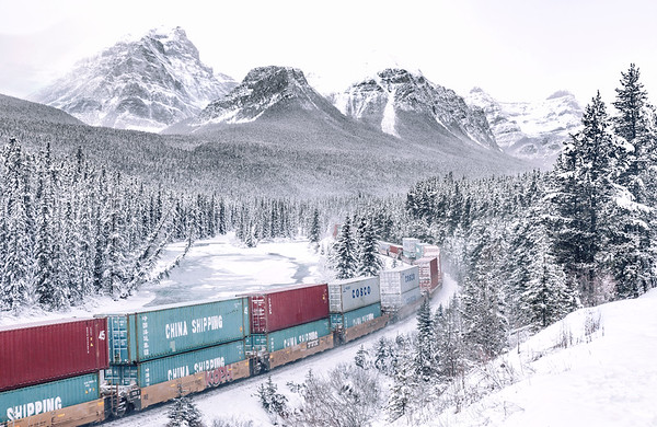 Westbound freight train at Morant's Curve in Banff National Park, Alberta, Canada.