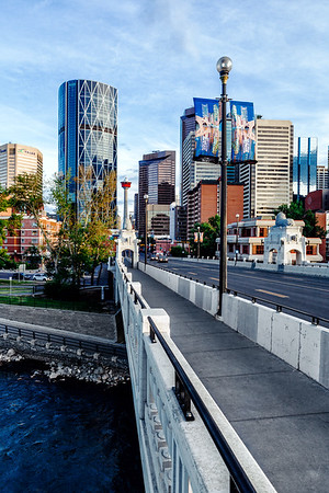 View on the city of Calgary from the Centre Street Bridge.