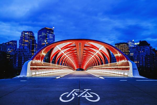 Peace Bridge crossing the Bow River in Calgary, Alberta