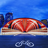 Peace Bridge crossing the Bow River in Calgary, Alberta