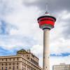 Calgary Tower behind the Fairmont Palliser Hotel