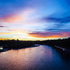 Sunset over the Bow River in Calgary.