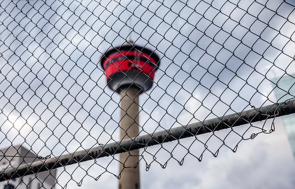 Calgary Tower behind a fence