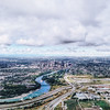 Aerial view on the city of Calgary and the Bow River in Alberta, Canada.