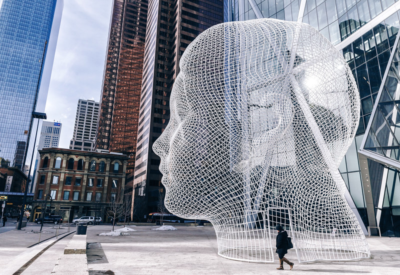 Wonderland is a sculpture by Spanish artist Jaume Plensa. The  public art installation is located at the foot of the Bow, he tallest office tower in Calgary, Alberta, Canada. The head scultpture was unveiled on January 25, 2013.