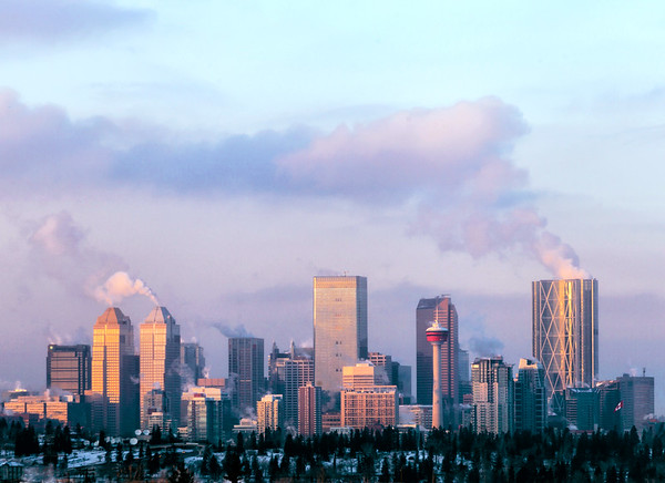 Skyline of the city of Calgary and its Skyscrapers on a cold winter day.