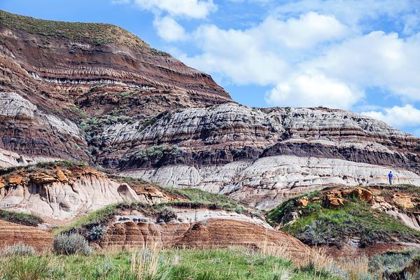 Canadian Badlands landscape close to the Hoodoos site in Alberta