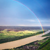 Rainbow over the Red Deer River and Horsethief Canyon in Alberta, Canada
