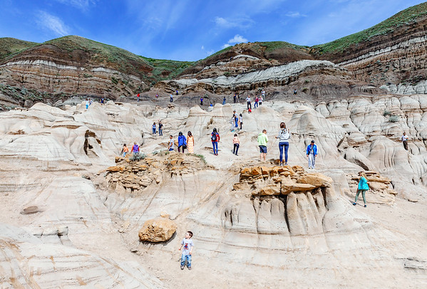 Tourists at the Hoodoos site in the Canadian Badlands