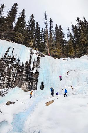 Ice Climbing at Jonhston Canyon, Banff National Park, Alberta