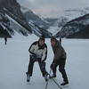 Droping the puck on Lake Louise