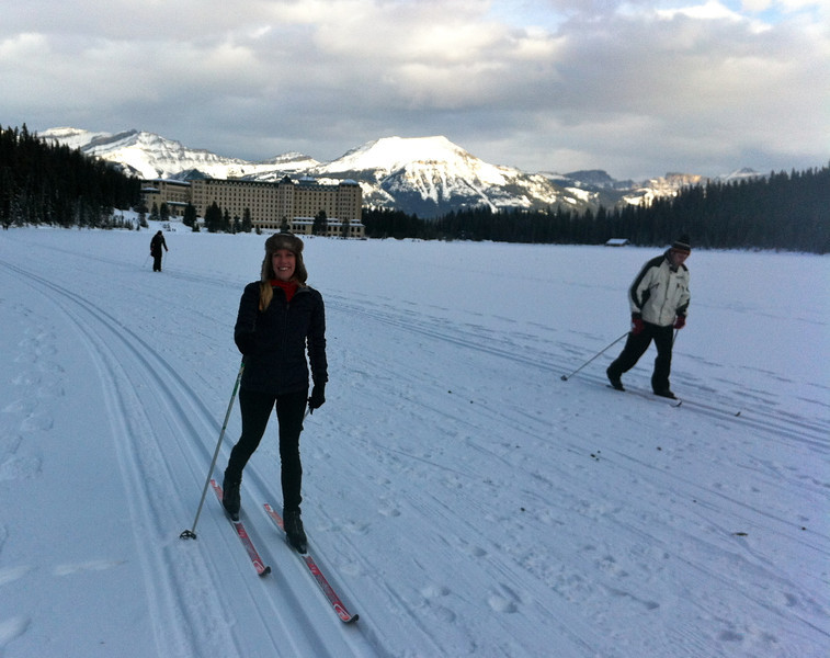 Cross Country Skiing on Lake Louise