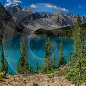 Moraine Lake Louise Alberta Canada Panoramic Landscape Photography Town Island Shore - 016880 - 18-08-2015 - 9728x9733 Pixel