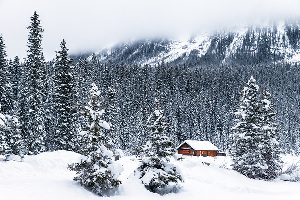 Wooden cabin at Lake Louise during winter