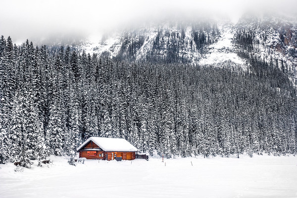 Log cabin at Lake Louise