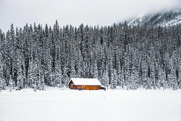Log cabin at Lake Louise