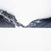 Lake Louise covered by snow in winter